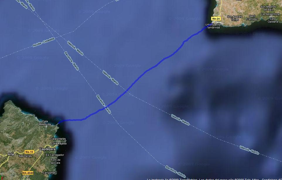 Detall recorregut real Canal Menorca